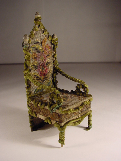 Doll's house furniture, a chair in the style from the 1600s. [Click here to open image in popup]