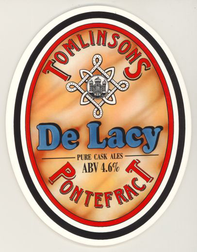 A re-use of a Borough emblem merged with the de Lacy heraldic 'knot' to sell locally made liquorice flavoured beer [Click here to open image in popup]