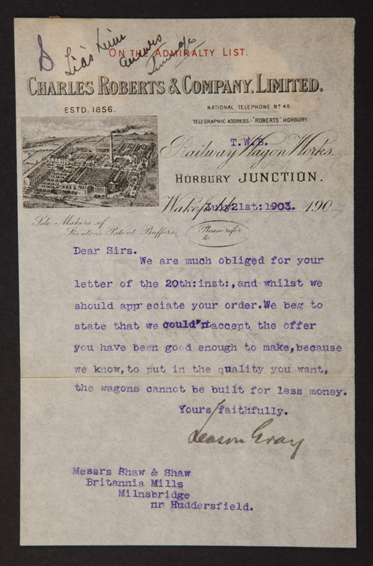 Museum collections a letter to j j e shaw from charles roberts and co ltd spiritdancerdesigns Gallery