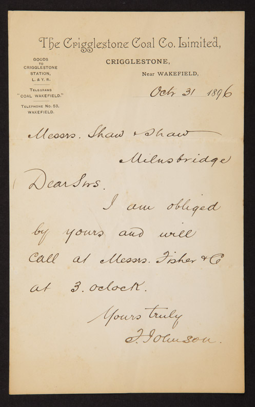Museum collections letter to messrs shaw shaw from the crigglestone coal company messrs shaw and shaw spiritdancerdesigns Gallery