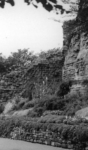 Victorian rockery built up below the keep c. 1945-55 [Click here to open image in popup]