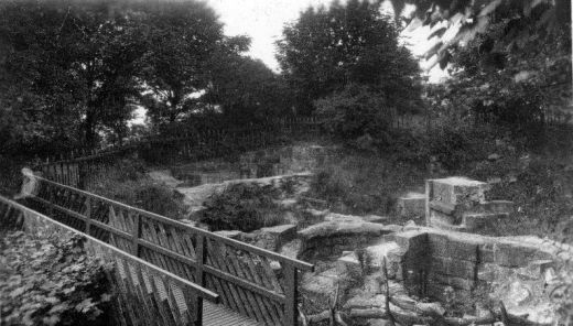 The rustic bridge crossing the kitchen ovens in about 1930-40 [Click here to open image in popup]