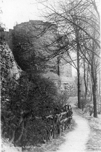 The keep from the sally port [behind the 'rustic' fence] c. 1900-20 [Click here to open image in popup]