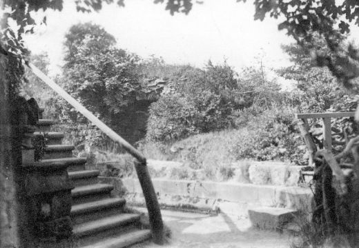 Looking north towards the kitchens with the end of the terrace on the left. The Victorian steps have now been replaced by a grass slope [Click here to open image in popup]