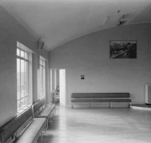 Recreation hall at W. R. Wilkinson & Co Ltd liquorice works, Pontefract. [Click here to open image in popup]