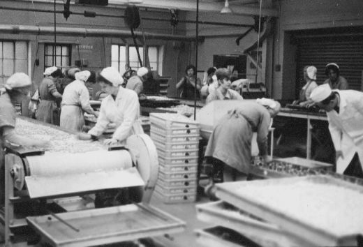 Liquorice Allsorts production line at Wilkinson liquorice works. The women are checking the sweets for defects. [Click here to open image in popup]