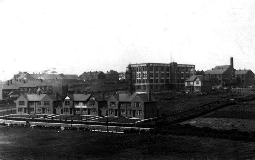 The image shows the liquorice factory of W. R. Wilkinson & Co Ltd with houses in foreground. [Click here to open image in popup]