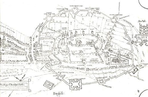 Another version of a siege plan drawn during the Civil War. The trench-forts of the besiegers are different from all other plans. Other features include a 'ditch or moat' not only on the west but also to the east protecting the royal apartments and the inner barbican. The buildings in the two barbicans are described as the 'King's Stable' and the 'Great Laith.' The wall running due south from the keep is called the 'Flanken Wall'. The bailey also includes references to a 'conduit', a 'magazine' and a 'bowling green' on the terrace [Click here to open image in popup]