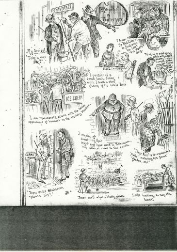 Cartoons drawn by N C Nicholl in 1886. Two pages were entitled strangers in Pontefract where the artist draws himself visiting the town and the castle in particular. On the first page the visitor looks at the bailey with tennis court and grass roller commenting 'dear me what a lively place'. Looking down into the 'magazine' the visitor comments 'looks inviting' to say the least [the trap door of the magazine is surrounded by rustic fencing]. On the second page Nicholls draws himself looking east from the terrace to the Royal Apartments with the rustic shelter still visible on the top. The next sketch shows the visitor between the keep and the kitchen looking at the shield shaped signs which identified different parts of the site, he comments 'King Richard is supposed to have kicked the bucket in this spot, ah!' [This sign was probably based on the steel engraving in Fox's History of Pontefract, which also claims that Richard died in that part of the castle. The last drawing shows the visitor on tip-toes looking through a hole in the keep wall towards Saint Giles and the town centre. This hole was a victorian 'improvement' to make the ruins more picturesque. That origianl wall, having been weakend, later collapsed [Click here to open image in popup]
