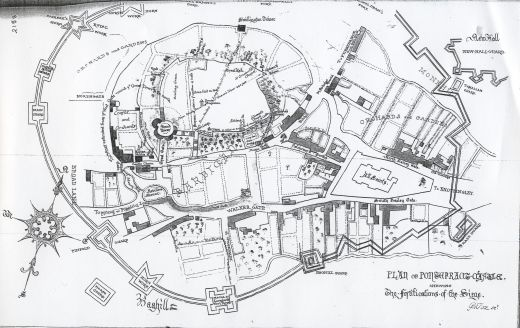 Siege map of the castle during the Civil War. This version of the map was drawn by George Fox in the 1820s. He names the towers going clockwise; Round Tower [Keep], Red Tower, Treasures Tower, Swillington Tower, Kings, Queens and Constable's. These are different from names and positions to the accepted ones today. The terrace is identified as a bowling green [Click here to open image in popup]