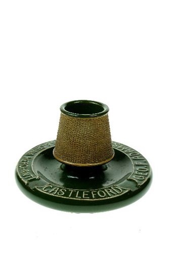 Circular green ashtray with the name Geo.F. Adamson, Glass and China Merchant, Castleford around the rim. This is probably the George F. Adamson who was Manager at Clokie and Co. in the 1930s. [Click here to open image in popup]