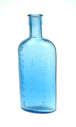 Medicine bottle used by Woodward Chemist of Nottingham. [Click here to open image in popup]