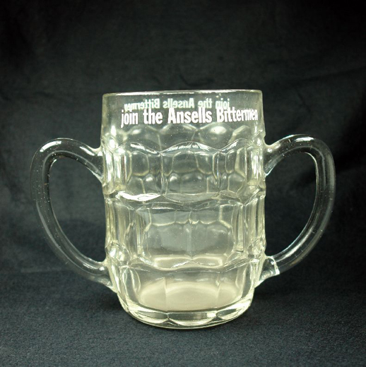 Drinking glass 'quart to brim' advertising 'Join the Ansells Bittermen'. Made by Rockware [successor company to Bagley's]. [Click here to open image in popup]