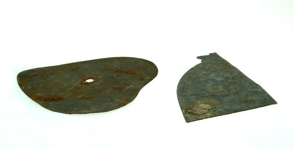 Two metal templates used by Bagley's Glassworks. [Click here to open image in popup]