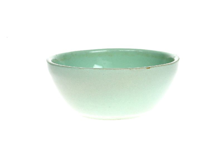 Small stoneware bowl with a light green glaze, made at Hartley's Ltd between 1952 and 1960. [Click here to open image in popup]
