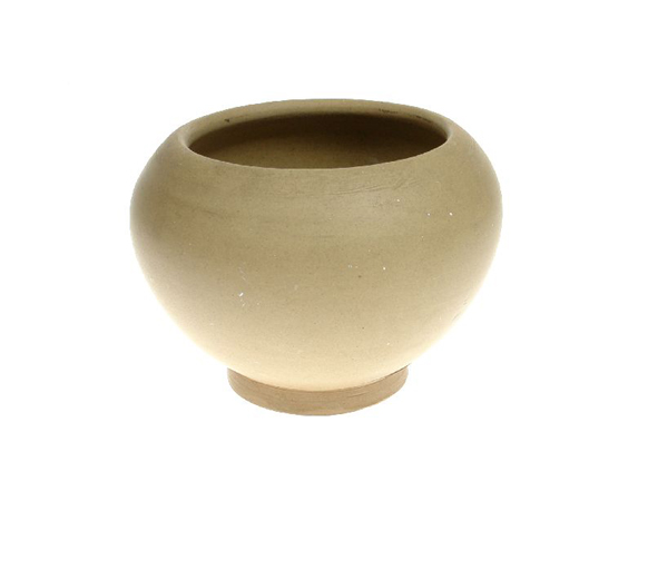 Small stoneware vase, unglazed and undecorated on the outside, made at Hartley's Ltd between 1952 and 1960. [Click here to open image in popup]