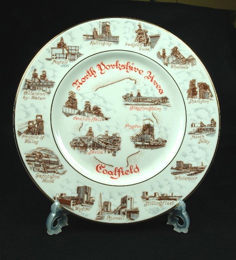 Plate with sketches of 17 mines in the North Yorkshire Area Coalfield that took part in the Miners' Strike in 1985-5. Made for the Castleford Women's Centre [Click here to open image in popup]