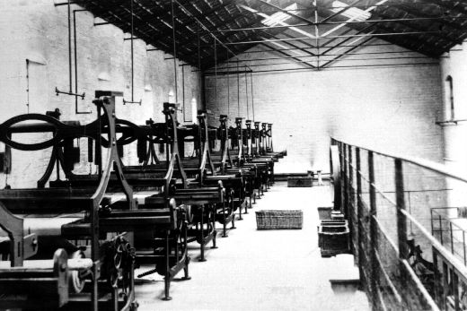 Prison built looms inside Wakefield Prison. from 1791 prisoners were employed in picking cotton and spinning worsted. By 1870 the prison had a prosperous trade in mat making and were exporting them to America. [Click here to open image in popup]