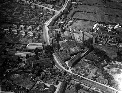 An aerial view of the textile mill buildings on Alverthorpe Road. [Click here to open image in popup]