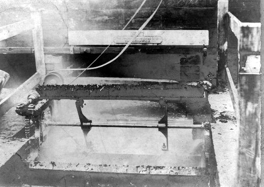 Black and white photograph of Broadbent's flock catcher in use at G. and J. Stubley's wool manufacturers. The firm was established in 1850 by George and James Stubley were leading shoddy and mungo manufacturers with processing sites in Batley and Wakefield, West Yorkshire. Sites included Bottoms Mill in Batley, Calder Mills, Wakefield and Castle Bank Mills in Portobello Road, Wakefield. [Click here to open image in popup]