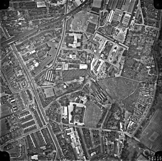 Black and white aerial view of M.P. Stonehouse's mills off Ings Road was taken for Wakefield City Council in 1961. M. P. Stonehouse was oringally a worsted spinner founded in 1853 by Mathew Porritt Stonehouse and was based at Albion Mills in Wakefield. The factory's main focus was carding and spinning uncombed worsted yarn for carpets and for hand-knitting. In 1855 M P Stonehouse is recorded as having employed 16 people, 100 workers in 1869 and by 1874 was paying wages to approximately 200 workers. [Click here to open image in popup]