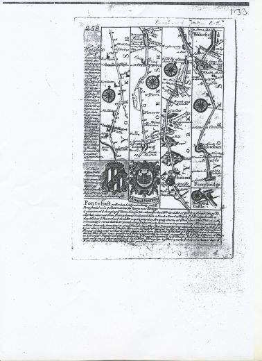 Official Emblem of the Borough on an 18th century strip map. The castle is flanked on either side by two doorways [which look like a cruet set!] [Click here to open image in popup]
