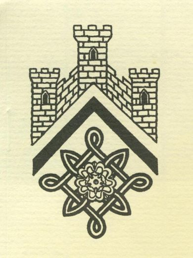 This emblem for the Pontefract and District Archaeological Society combines three elements, the castle, the de Lacy heraldic knot and the Yorkshire white rose. [Click here to open image in popup]